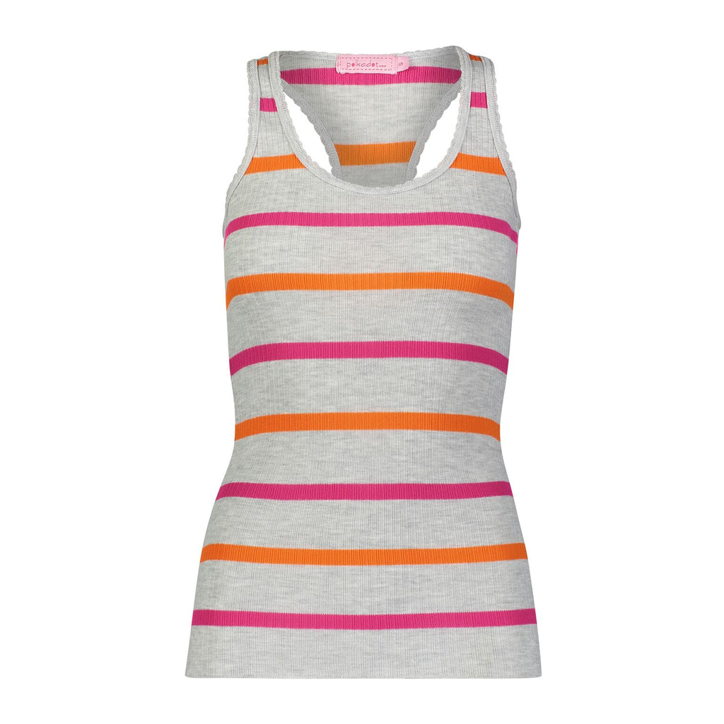 Polkadot USA Womens Pink and Orange Striped Racerback