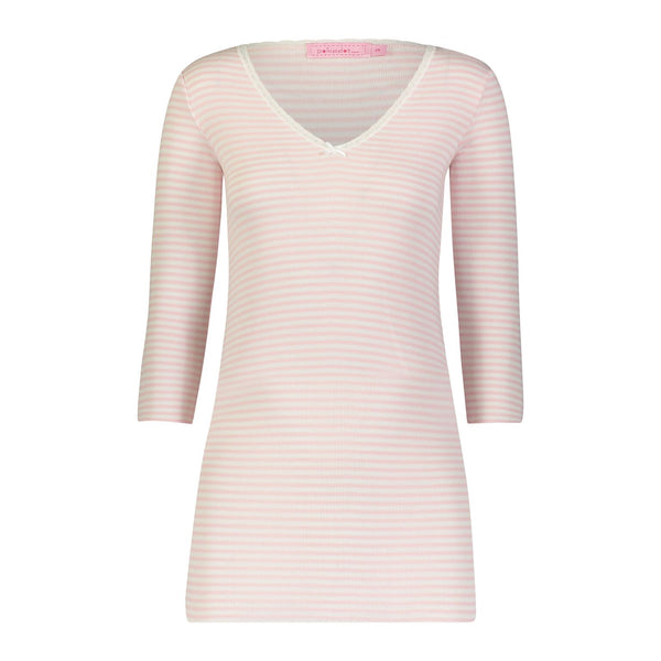 Polkadot CHEMISE V NECK 3/4 Sleeve Pink Sailor Stripe w Lace
