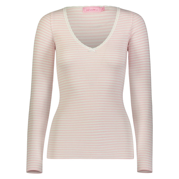 Polkadot V NECK LS TOP Pink Sailor Stripe w Lace