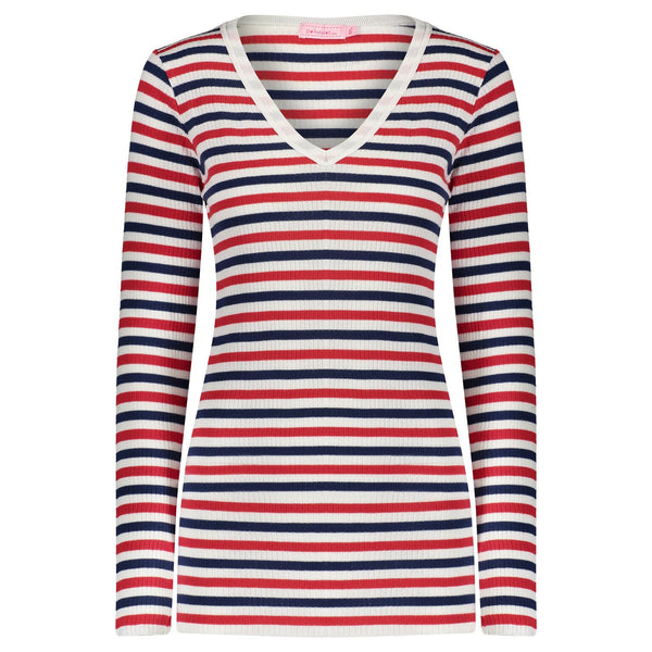 Polkadot SLOUCHY V NECK LS Lee Rib Stripe Red/Cream/ Navy