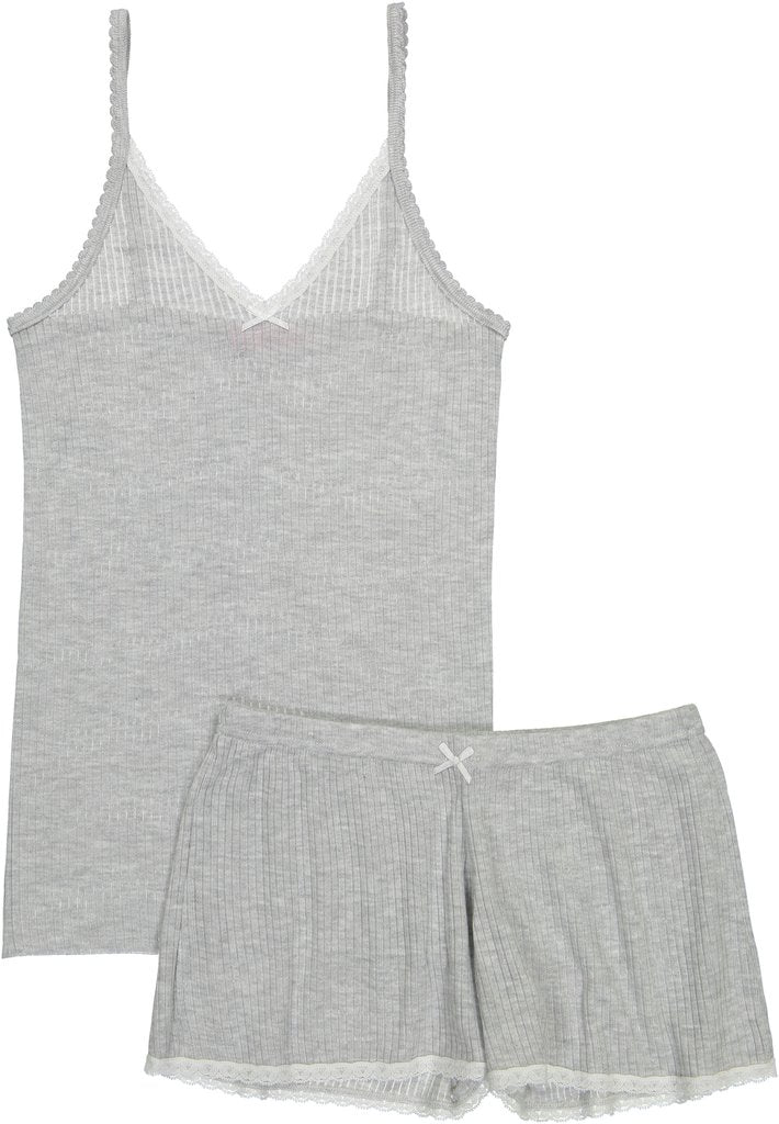 Polkadot RIB CAMISOLE Heather Grey w Lace
