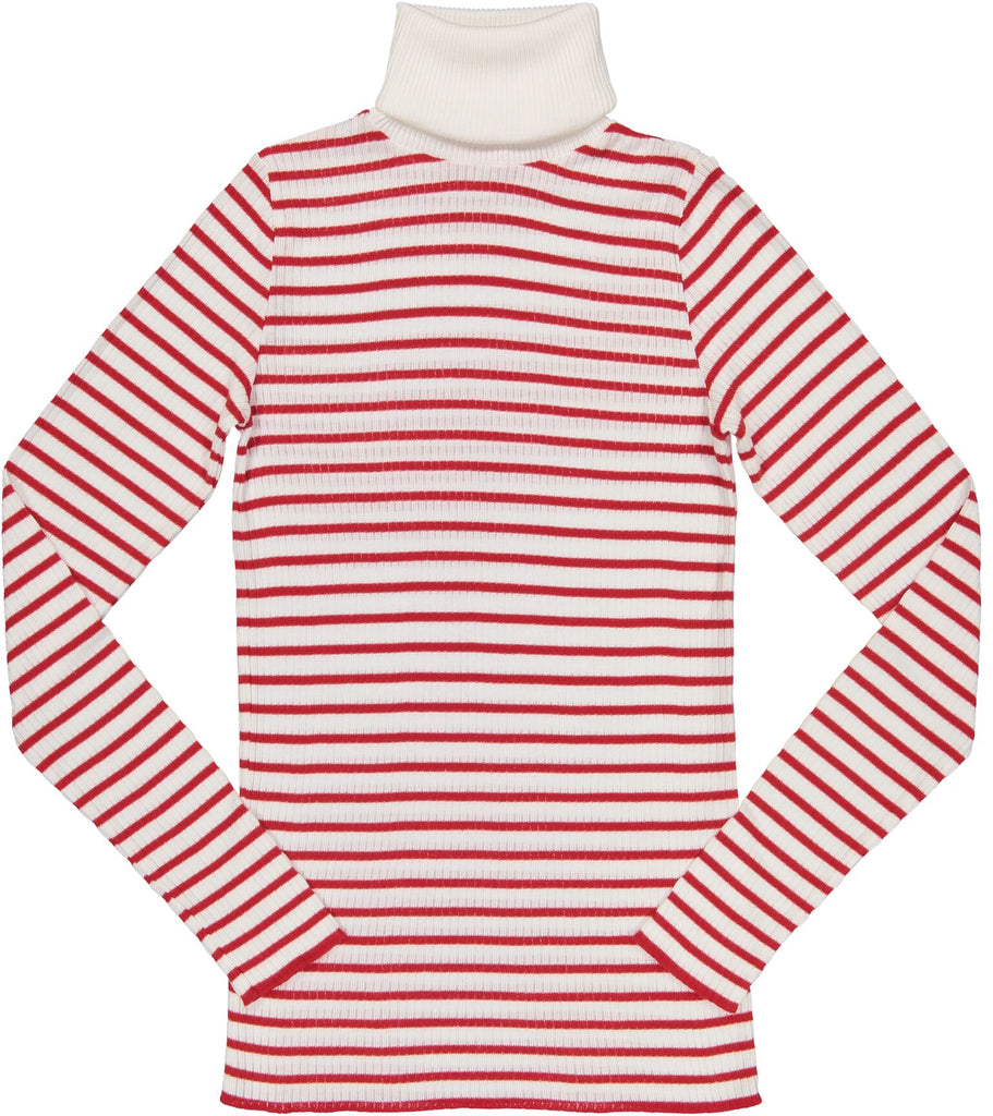 Polkadot TURTLENECK LS Breton Rib Stripe Cream /Red
