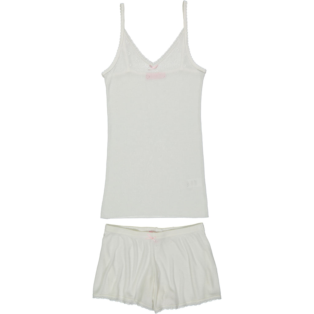 Polkadot Heart Pointelle Short White w Lace Hems