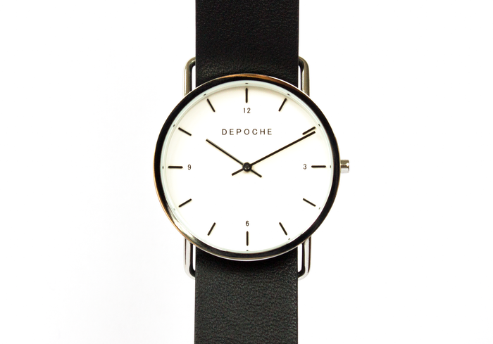 Depoche-trench-watch-silver-black