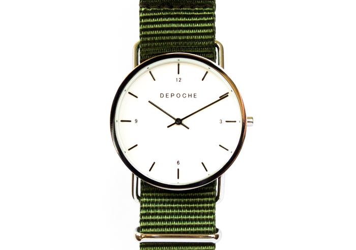 Depoche-trench-watch-silver-green