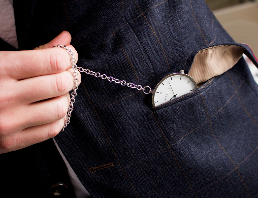 Depoche silver pocket watch in blazer pocket