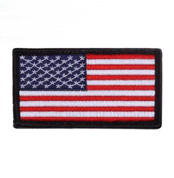 a1166fe6aa5b American Hook Back Flag Patch - Red White Blue with Black Boarder