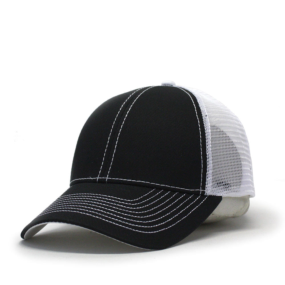 f607cc018c2 Two Tone Cotton Twill Mesh Adjustable Trucker Baseball Cap