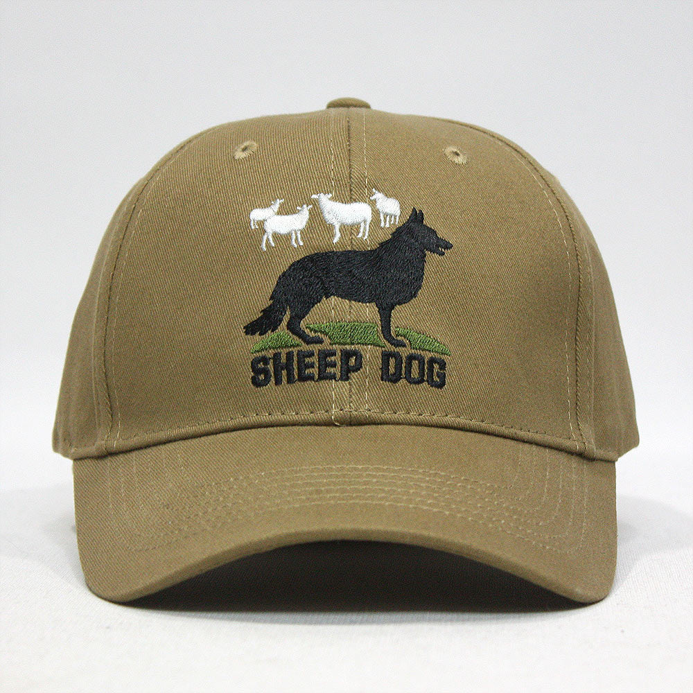 Embroidered Sheepdog and Sheep Low Profile Baseball Cap - Coyote Brown 6591bf18c92