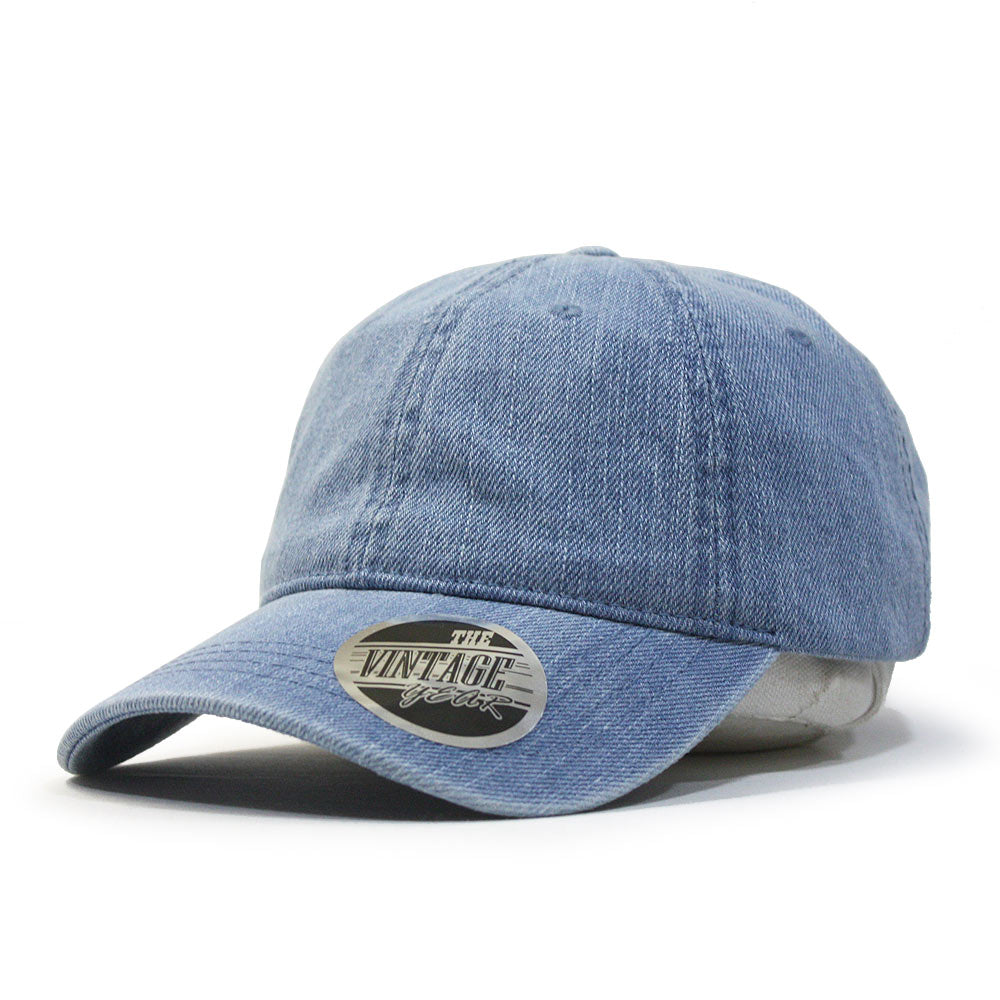 Washed Denim Cotton Low Profile Adjustable Dad Baseball Cap - The ... 06b58d69ae5