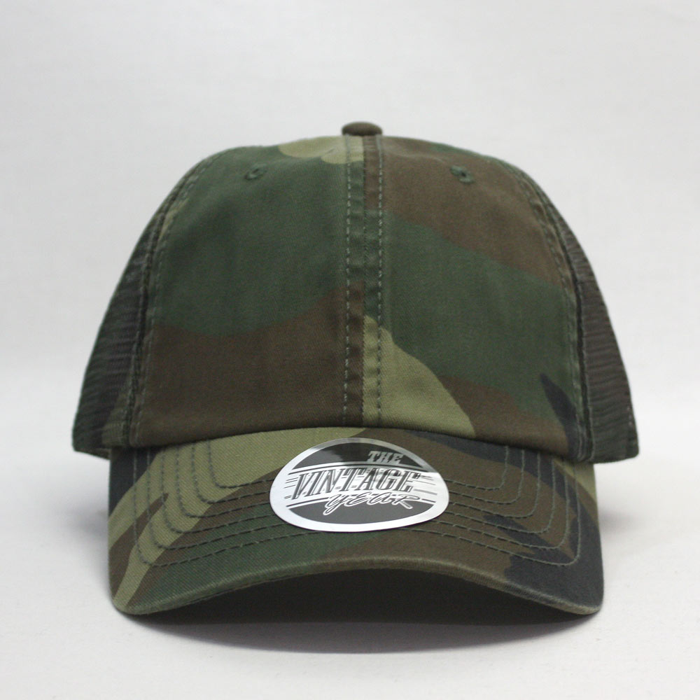 a8326aab939 Washed Camouflage Unstructured Low Profile Mesh Adjustable Baseball Cap