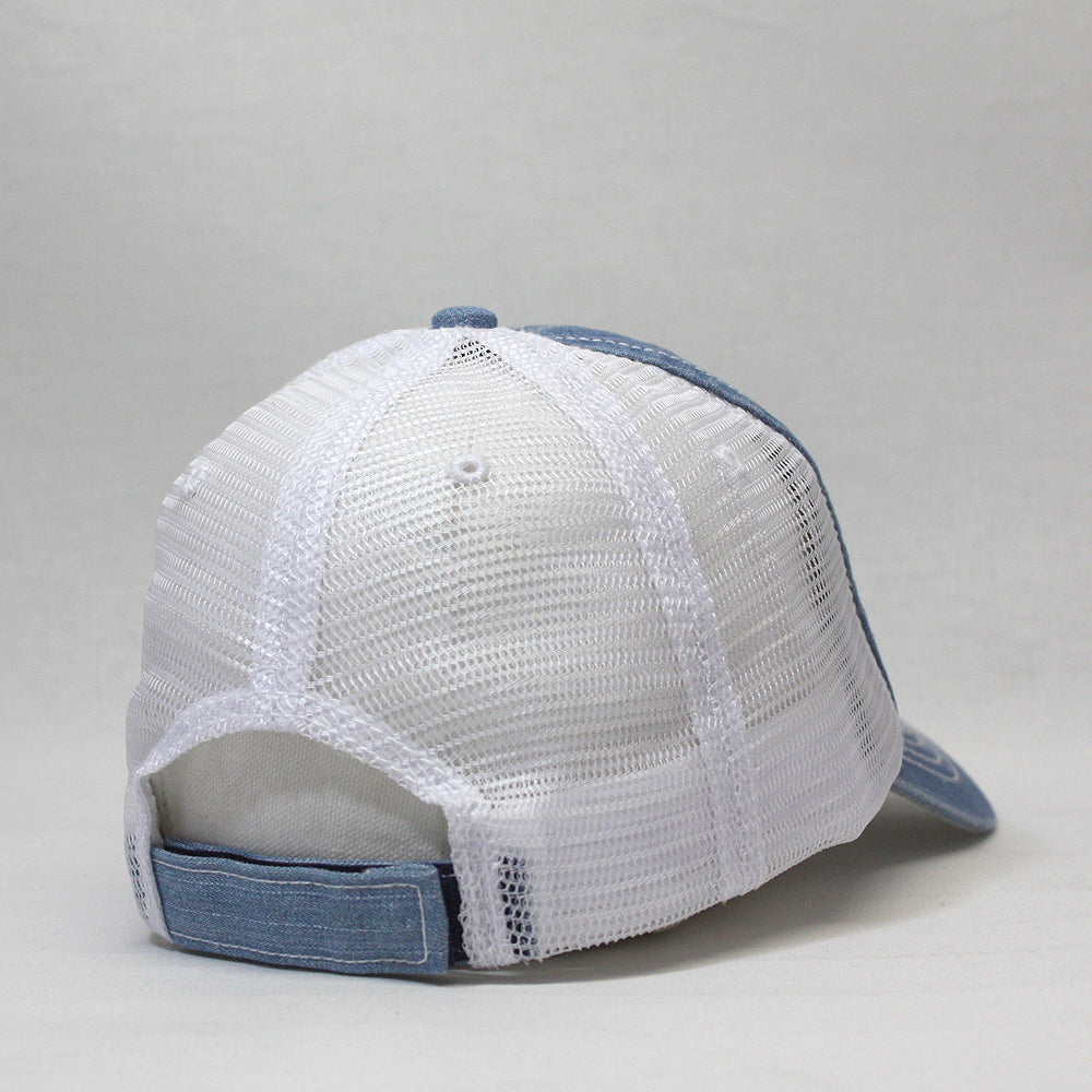 Distressed Denim Cotton Low Profile Mesh Adjustable Trucker Baseball ... f663e7c8034a