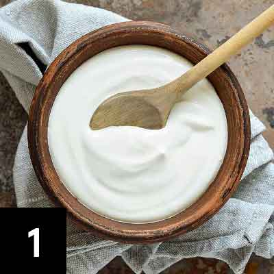 Mix 1/2 cup full fat greek yogurt with a squeeze of lemon.
