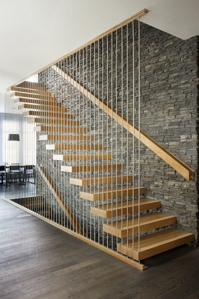 contemporary stair railing with vertical railing system