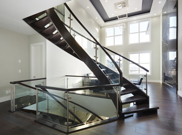 Open Rise Maple Stair with Curved Clamped Glass Railing