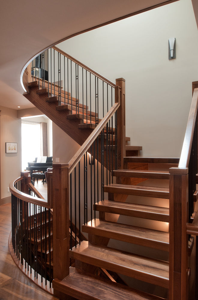 Self Supported Walnut Open Rise Stair