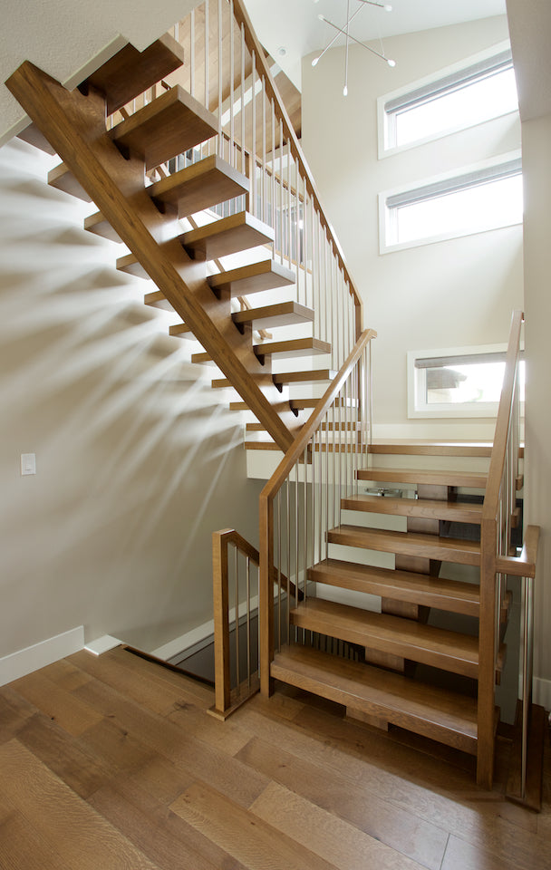White Oak Mono Stringer with Stainless Steel Railing