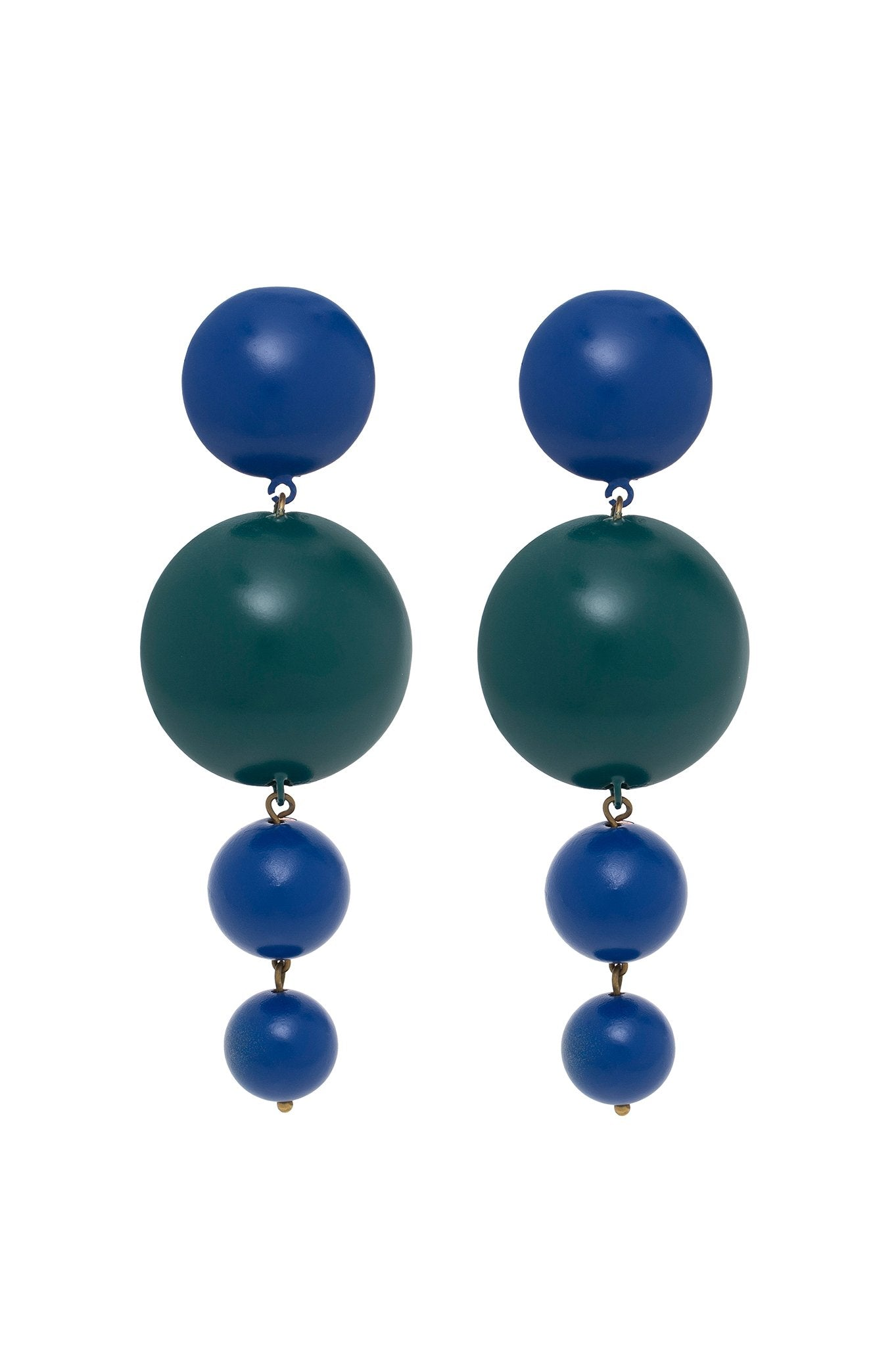 GREEN AND BLUE FOUR BALLS EARRINGS