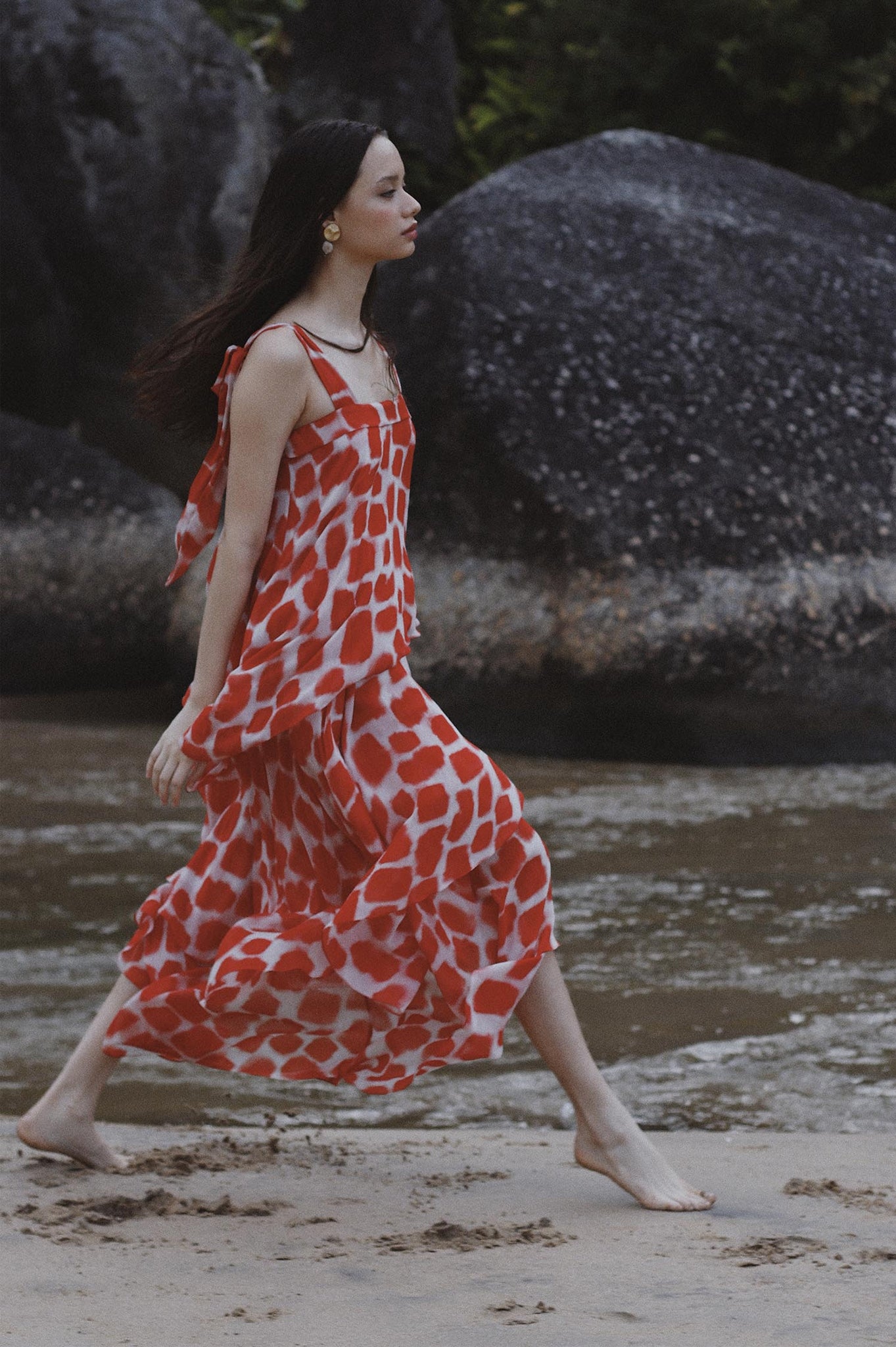 Red and White Petals Dress