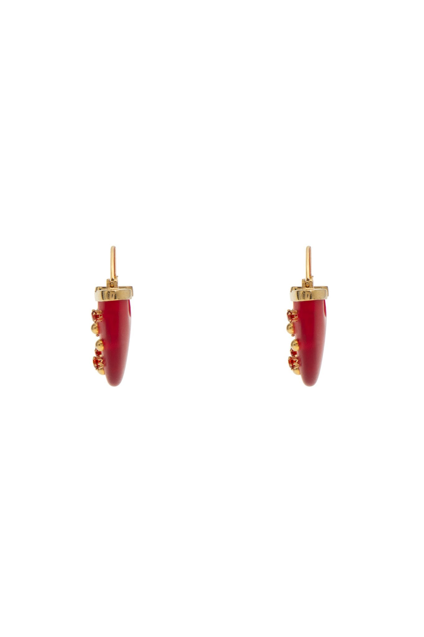 HALF MOON EARRINGS RED