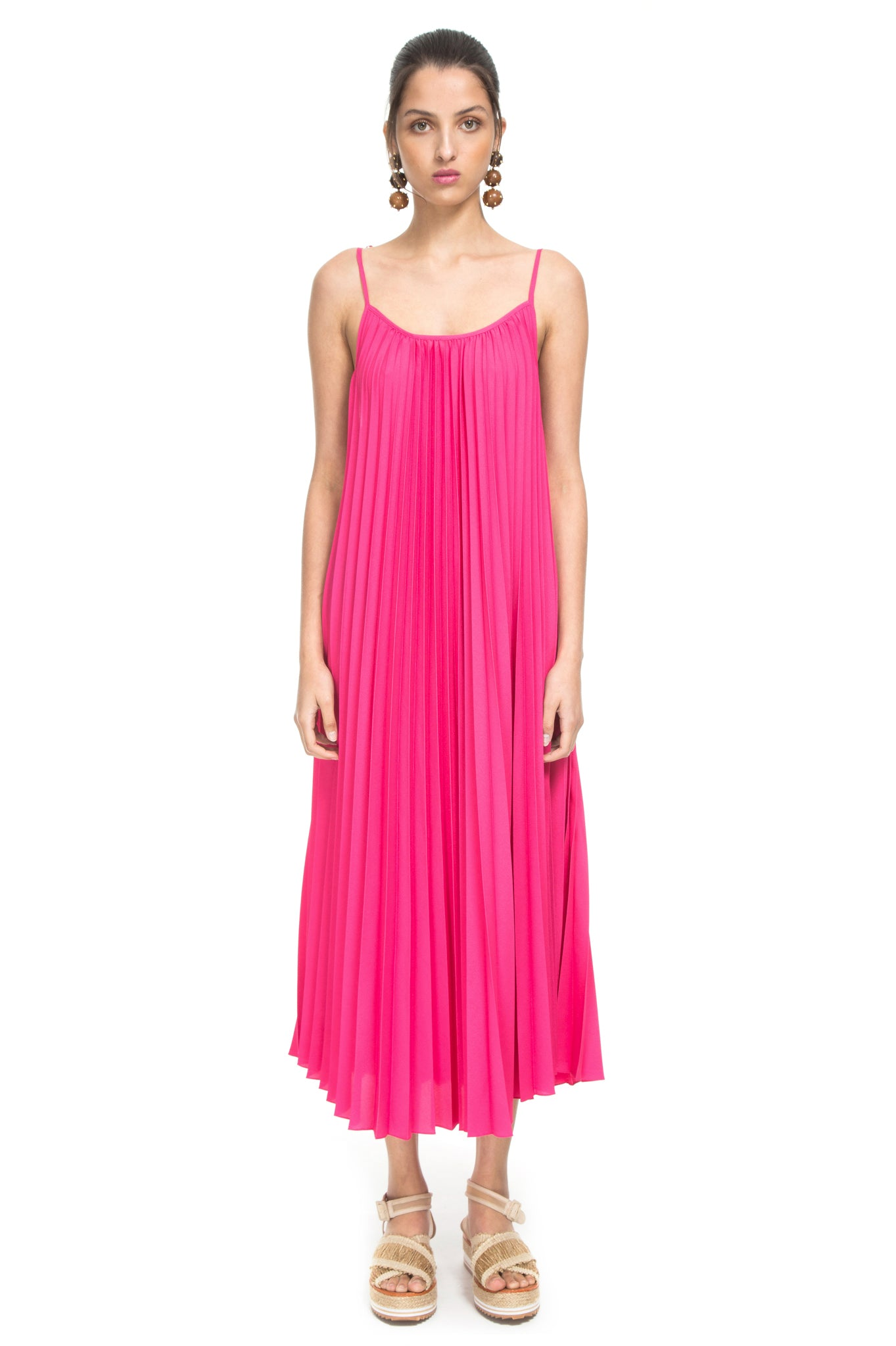 PINK T SHIRT PLEATED DRESS