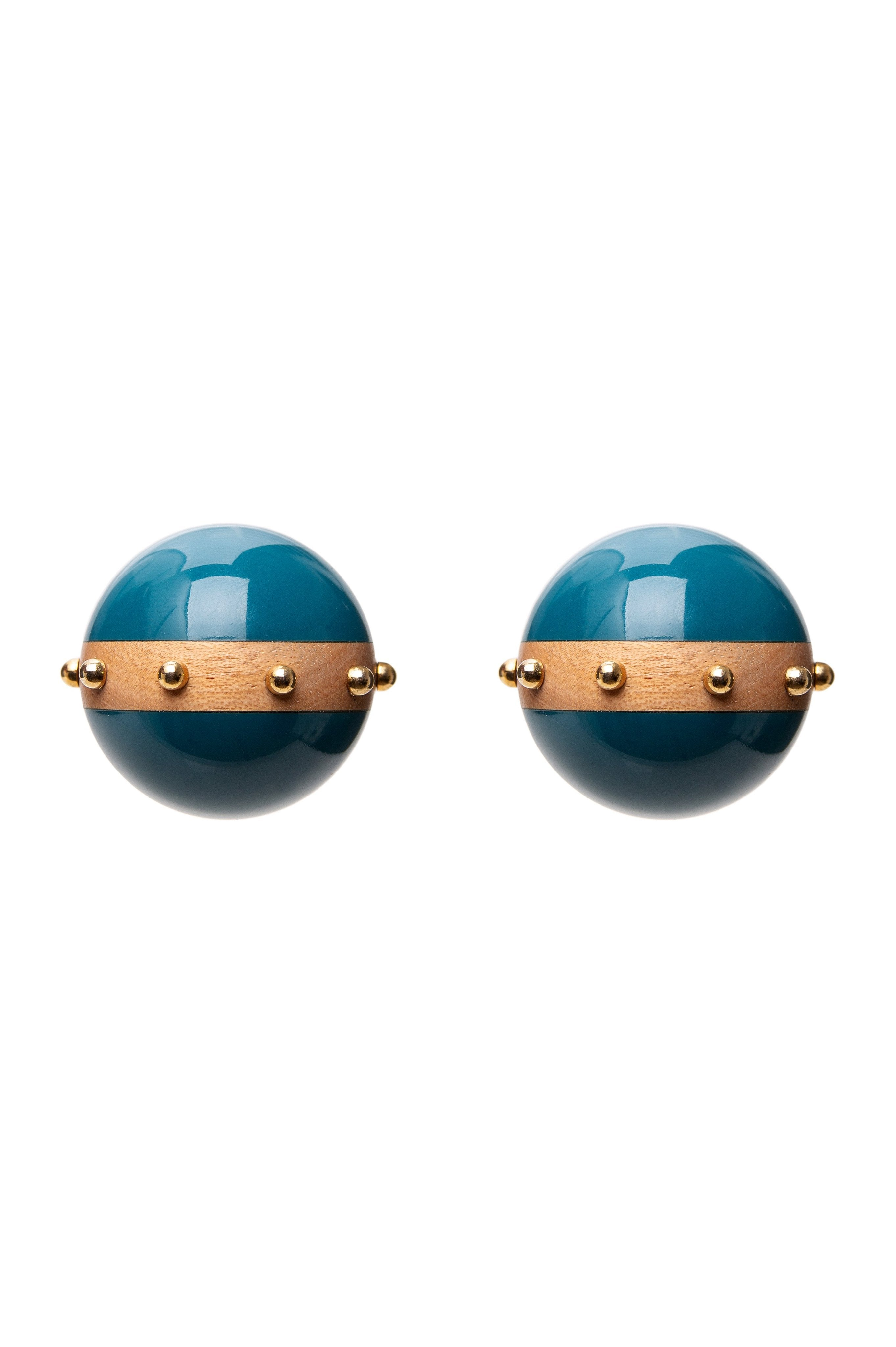 BLUE RESIN BALLS EARRINGS