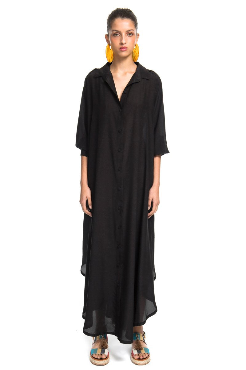 Black Pleated Long Dress