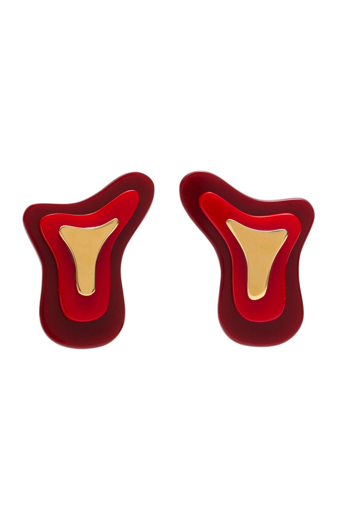 RED THREE PARTS TOPOGRAPHIC EARRINGS