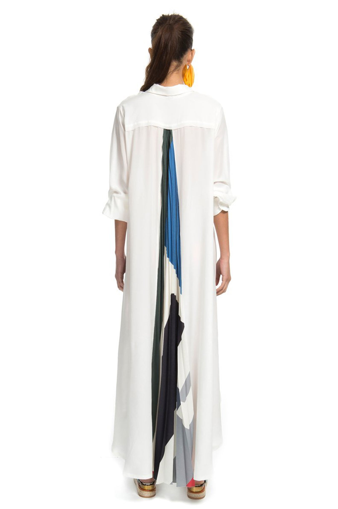 off white pleated long dress