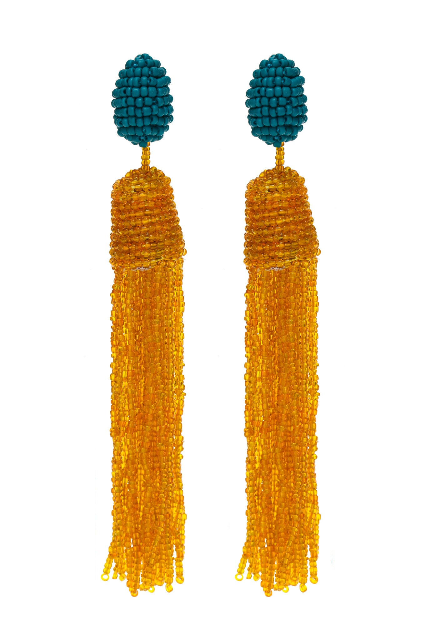 Blue and Yellow Beads Earrings