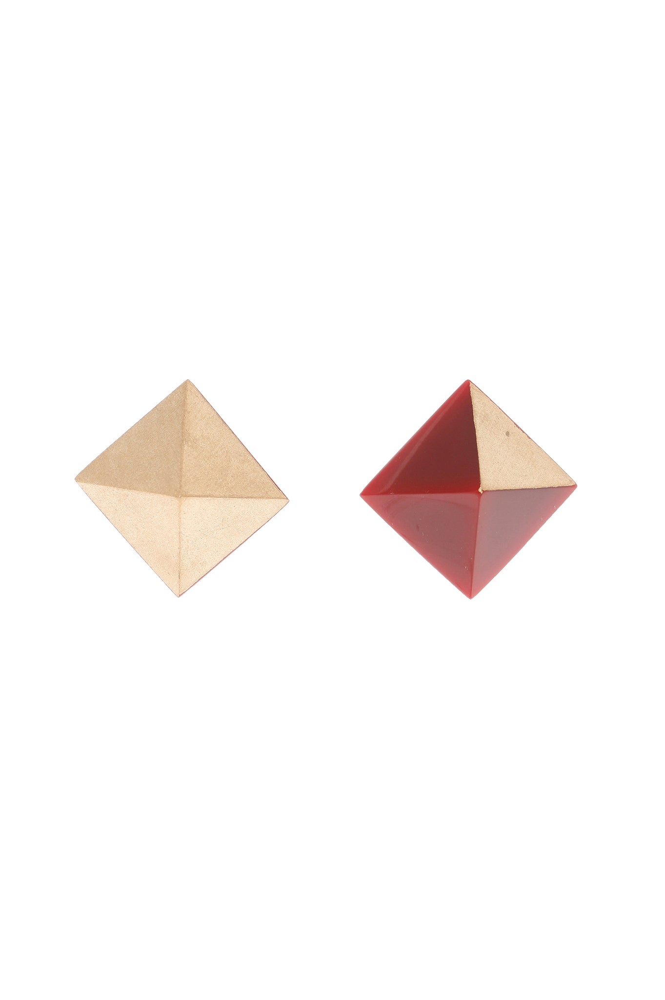 Red and golden Pyramid earrings