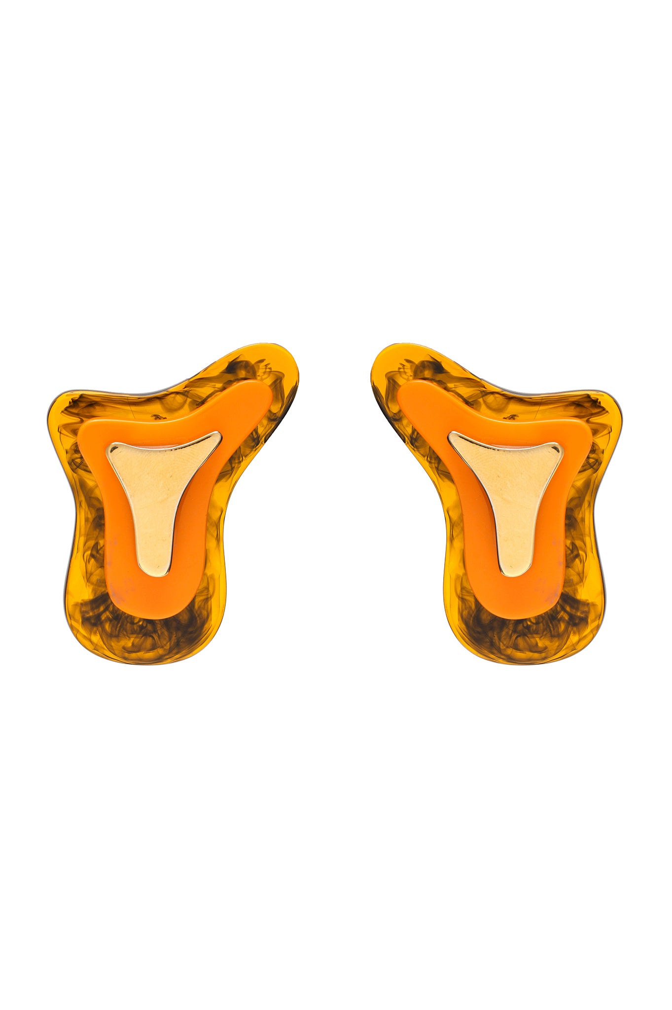 TORTOISE AND YELLOW THREE PARTS TOPOGRAPHIC EARRINGS