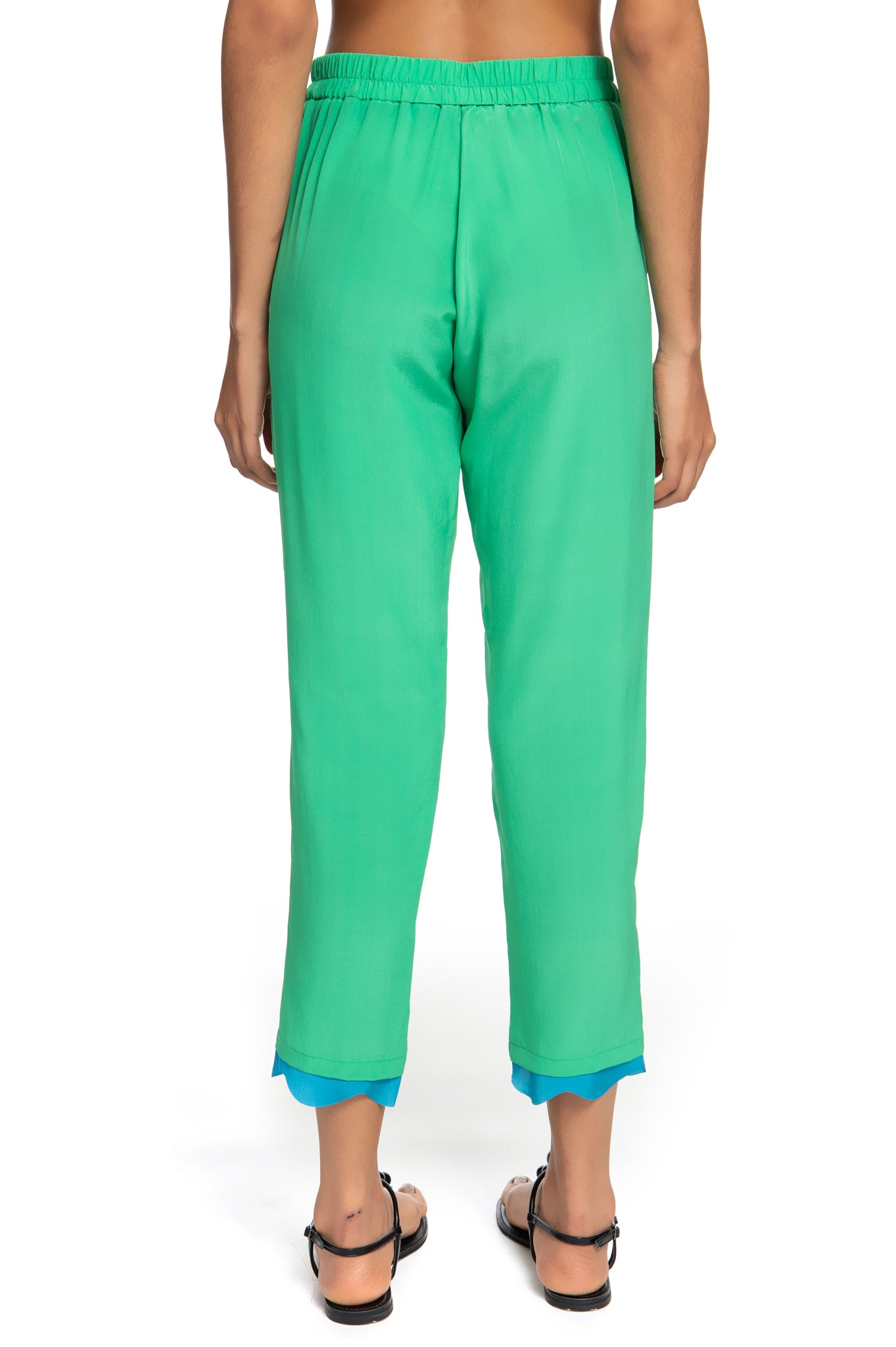 GREEN WAVES ELASTIC PANTS