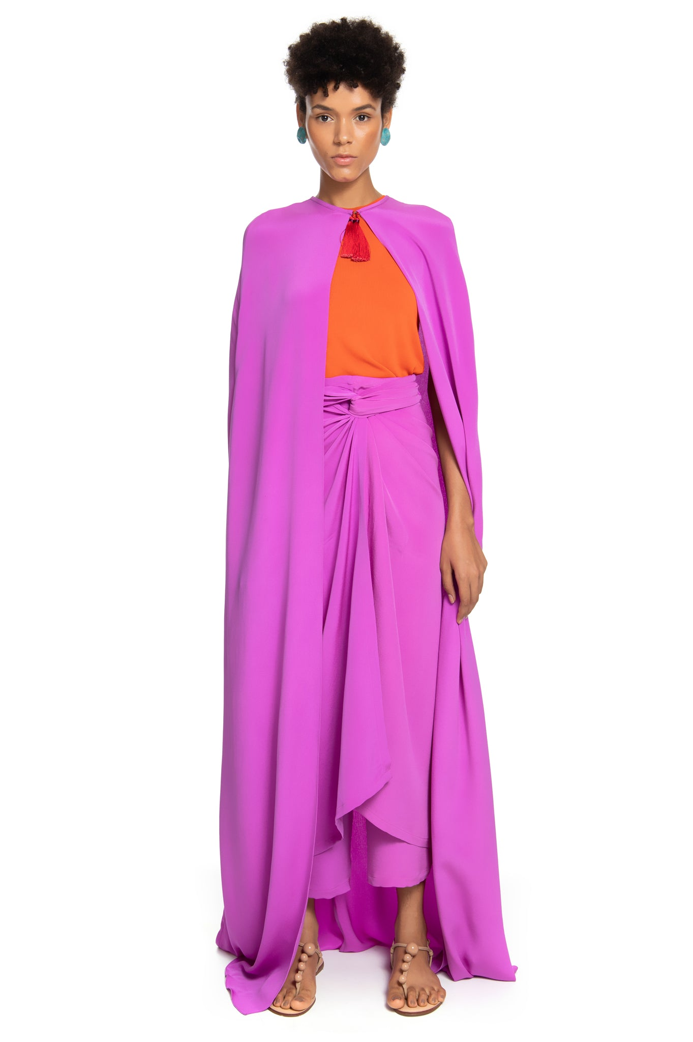 PURPLE HEAVY SILK CAPE