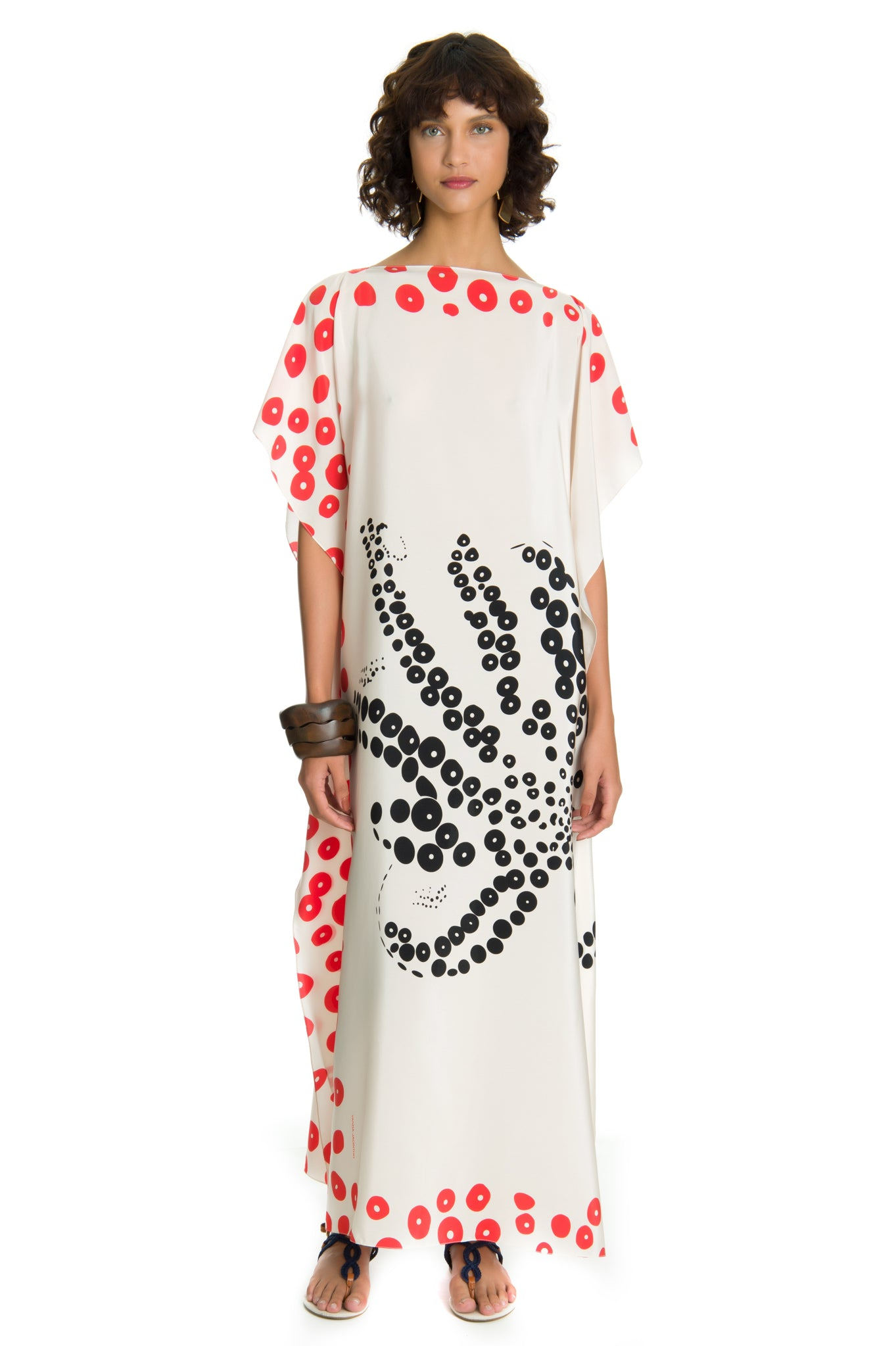 BLACK AND WHITE OCTOPUS CAFTAN