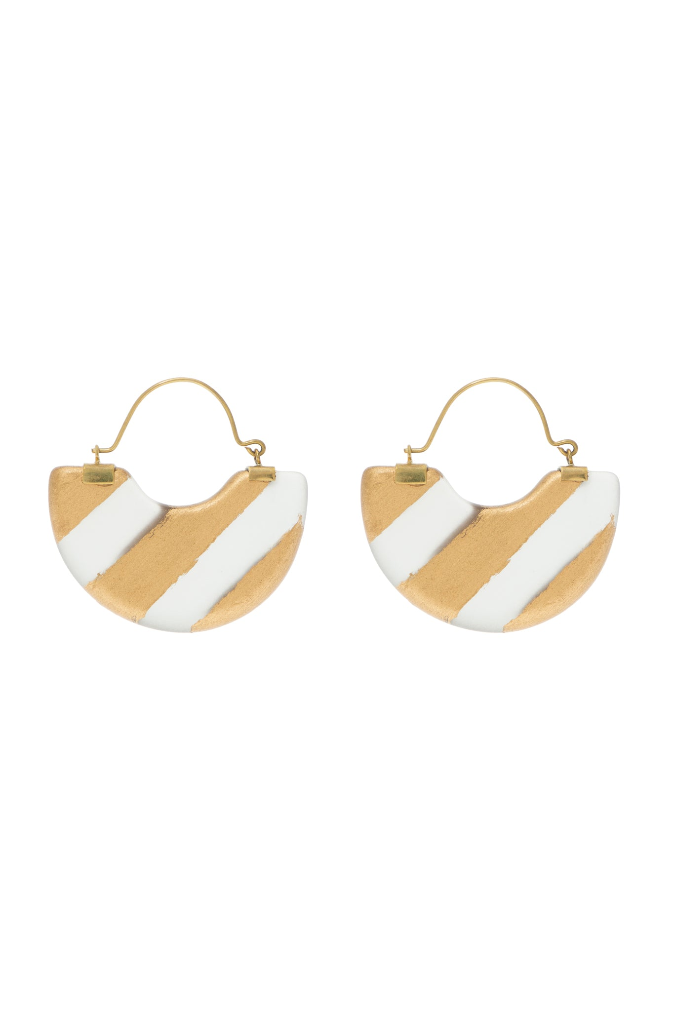 STRIPED HALF MOON EARRINGS