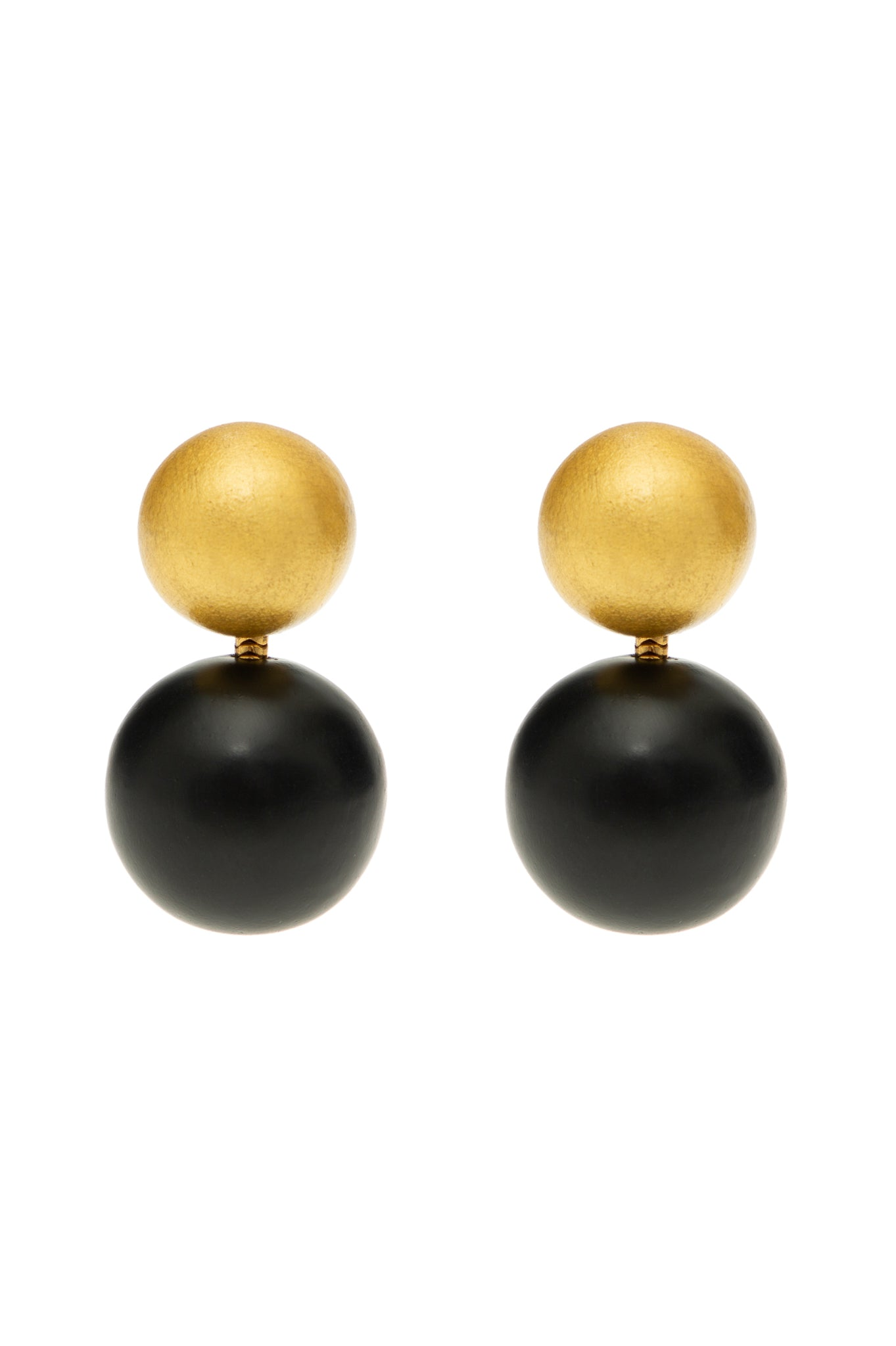 BLACK AND GOLD TWO BALLS WOOD EARRINGS