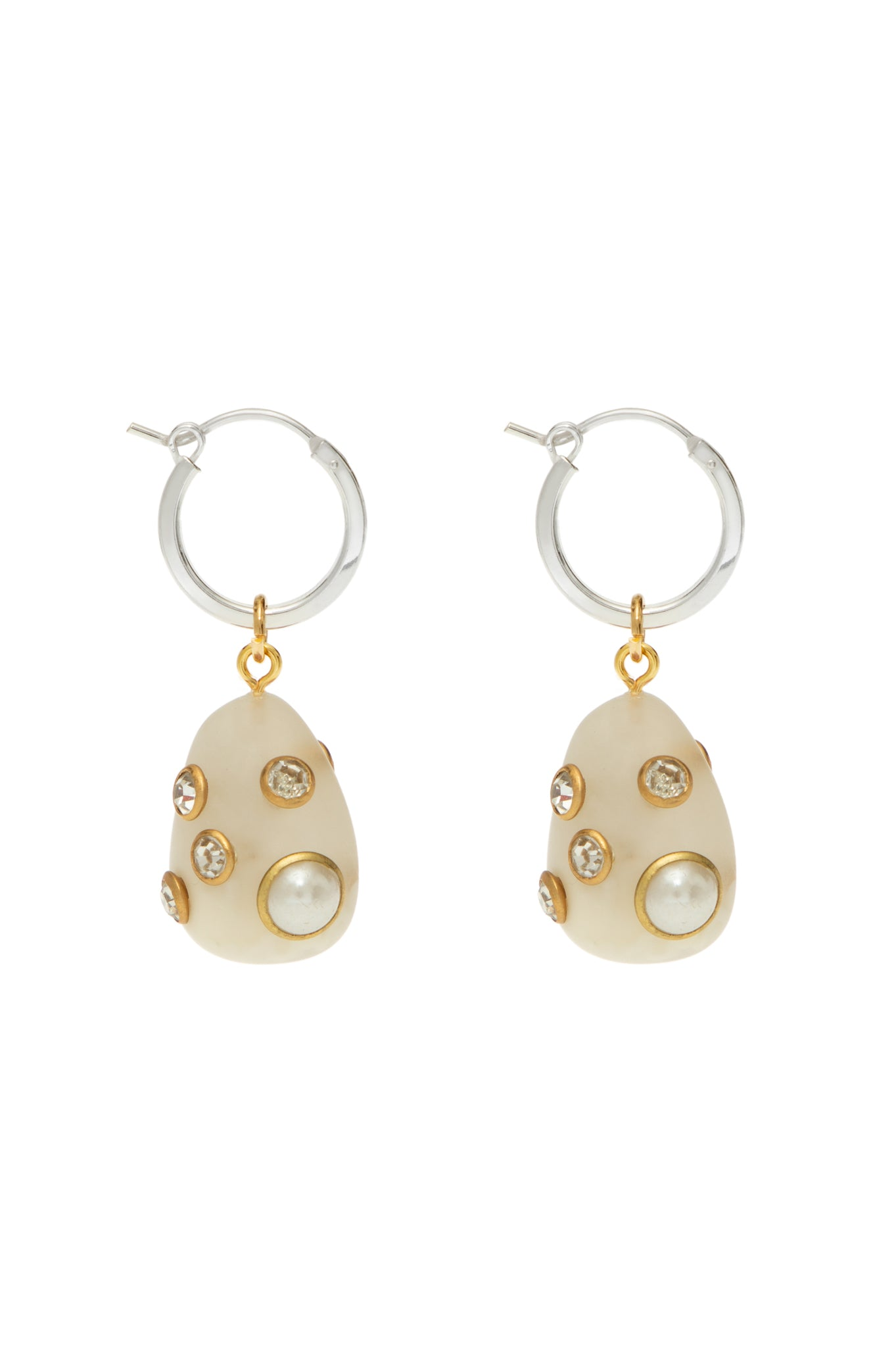 SMALL WHITE MARBLE ARSTY EARRINGS