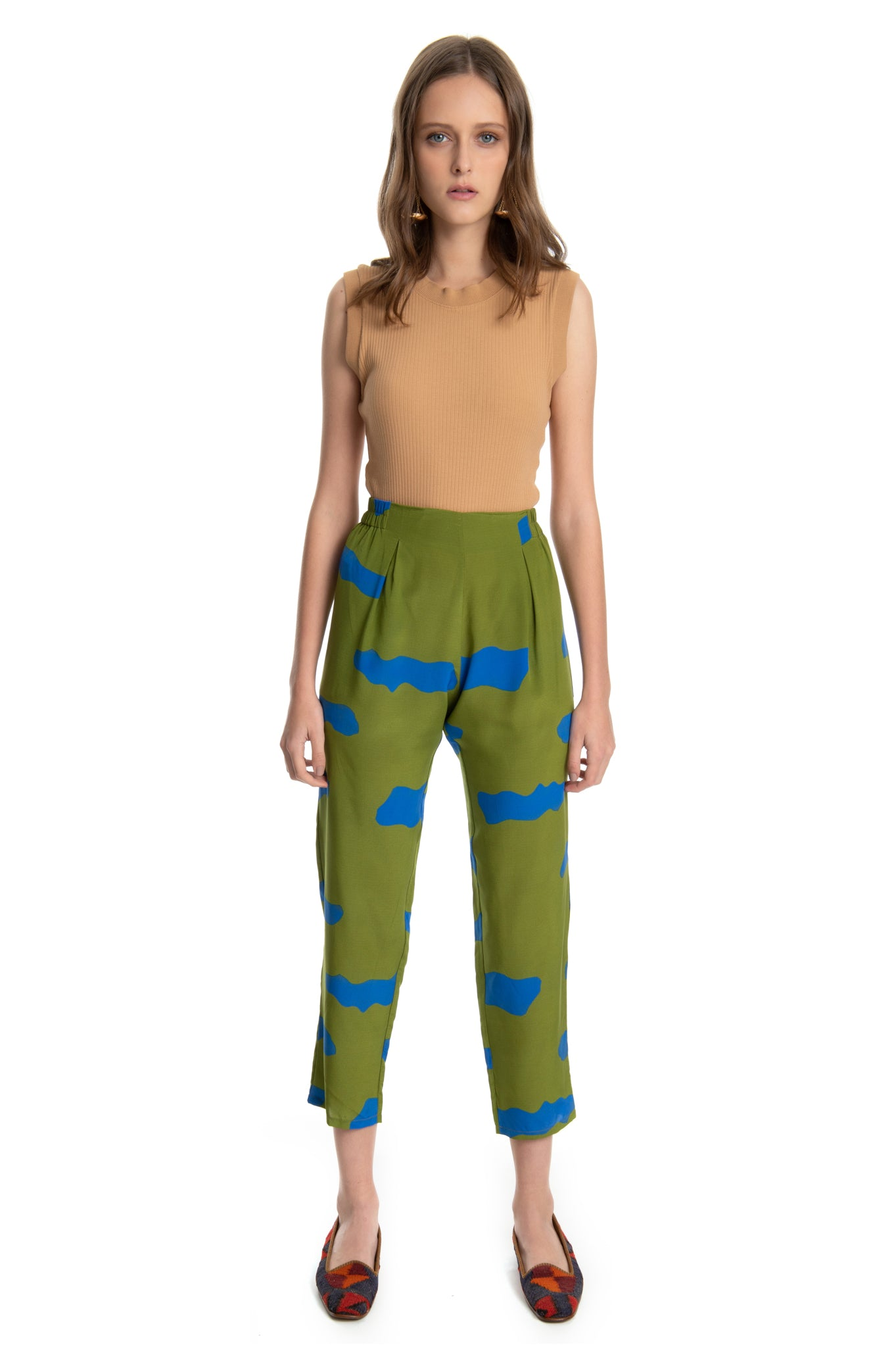 GREEN CLOUDS ELASTIC PANTS