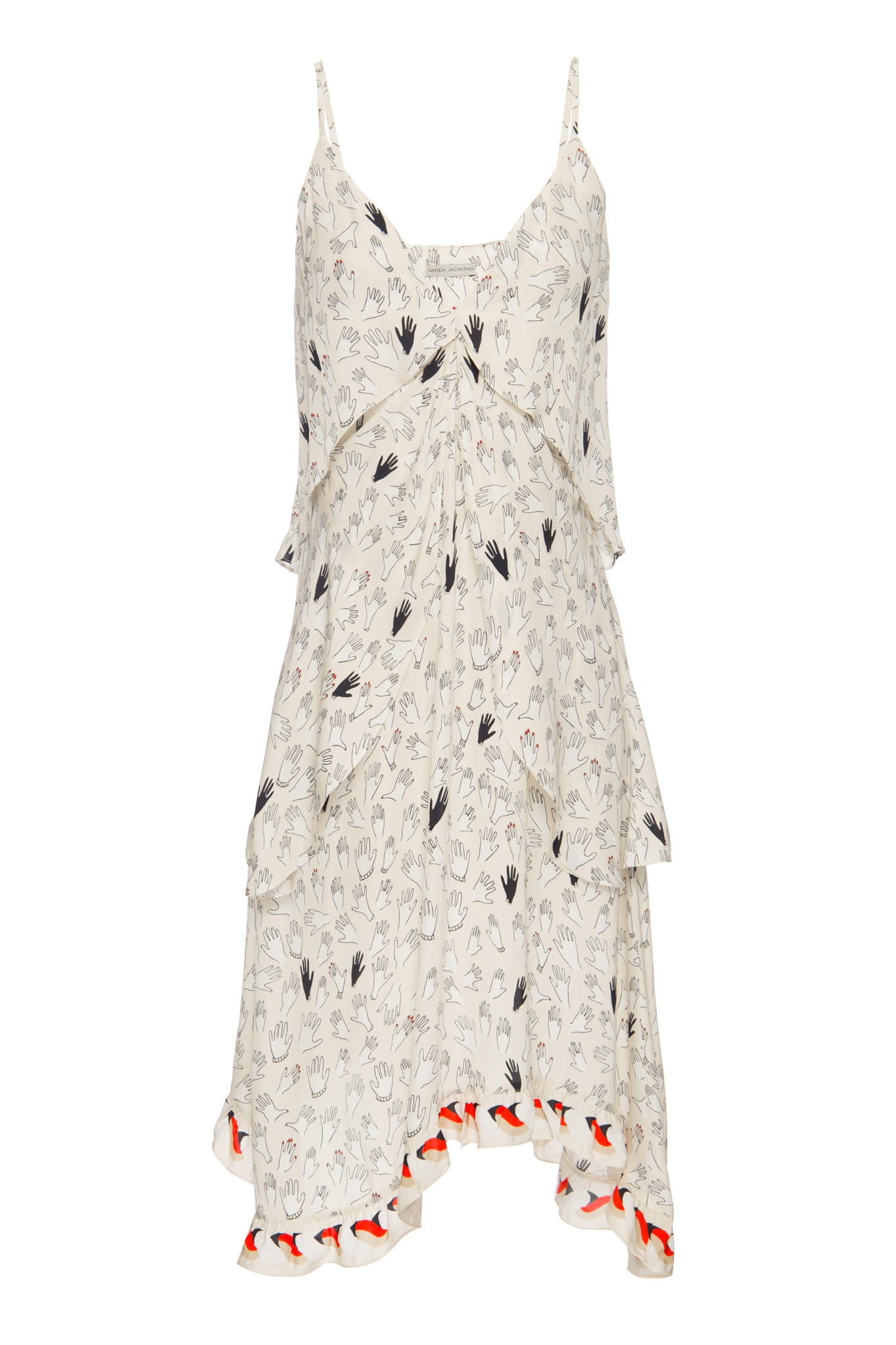 Off White Hands Print Nilo Dress