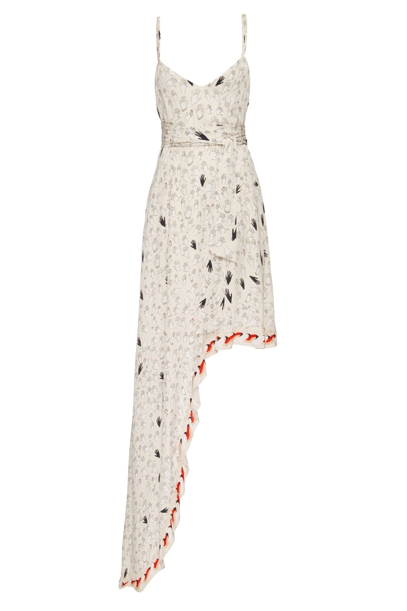 Off White Hands Print Gale Dress