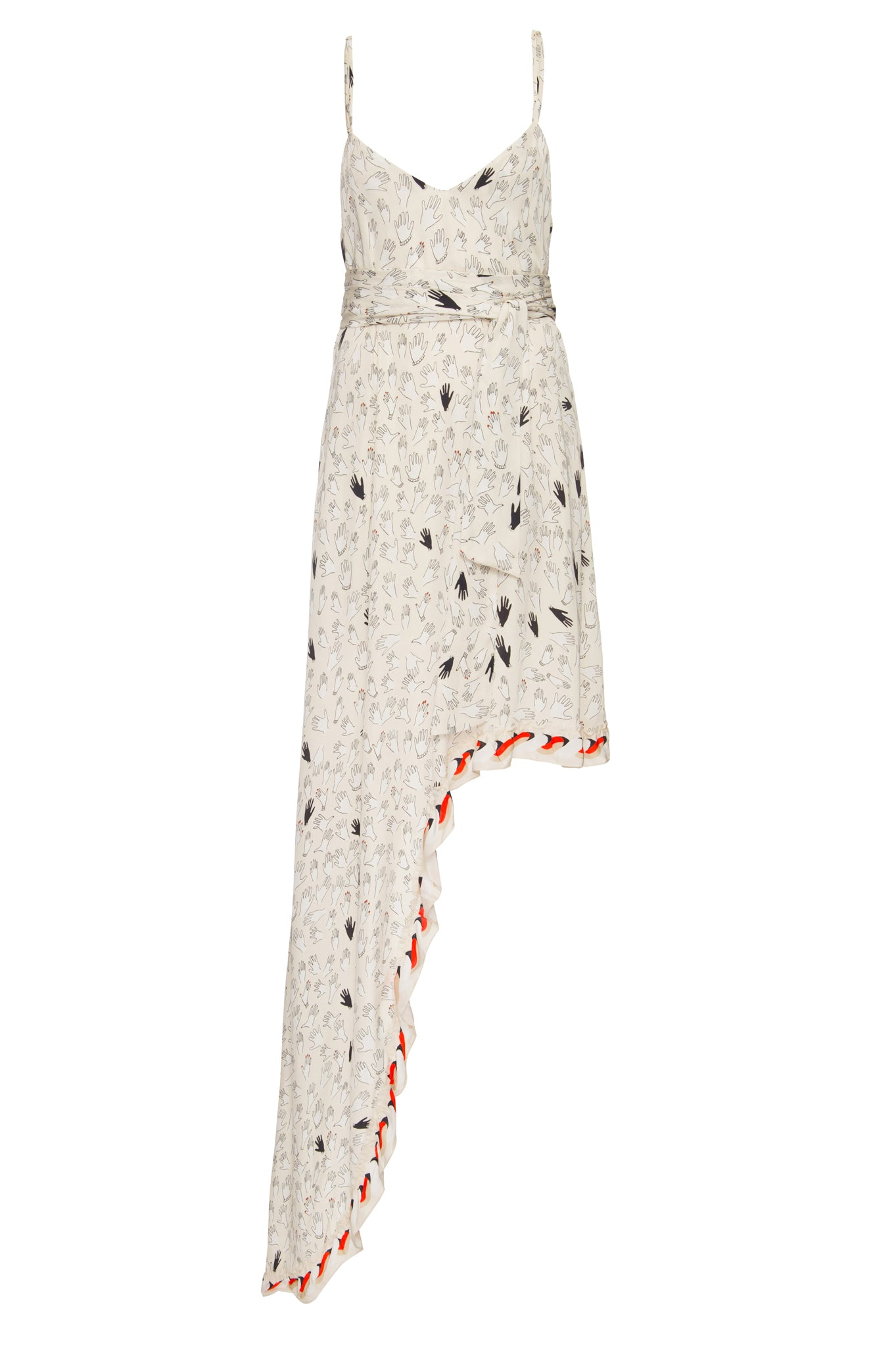Of White Hands Print Gale Dress