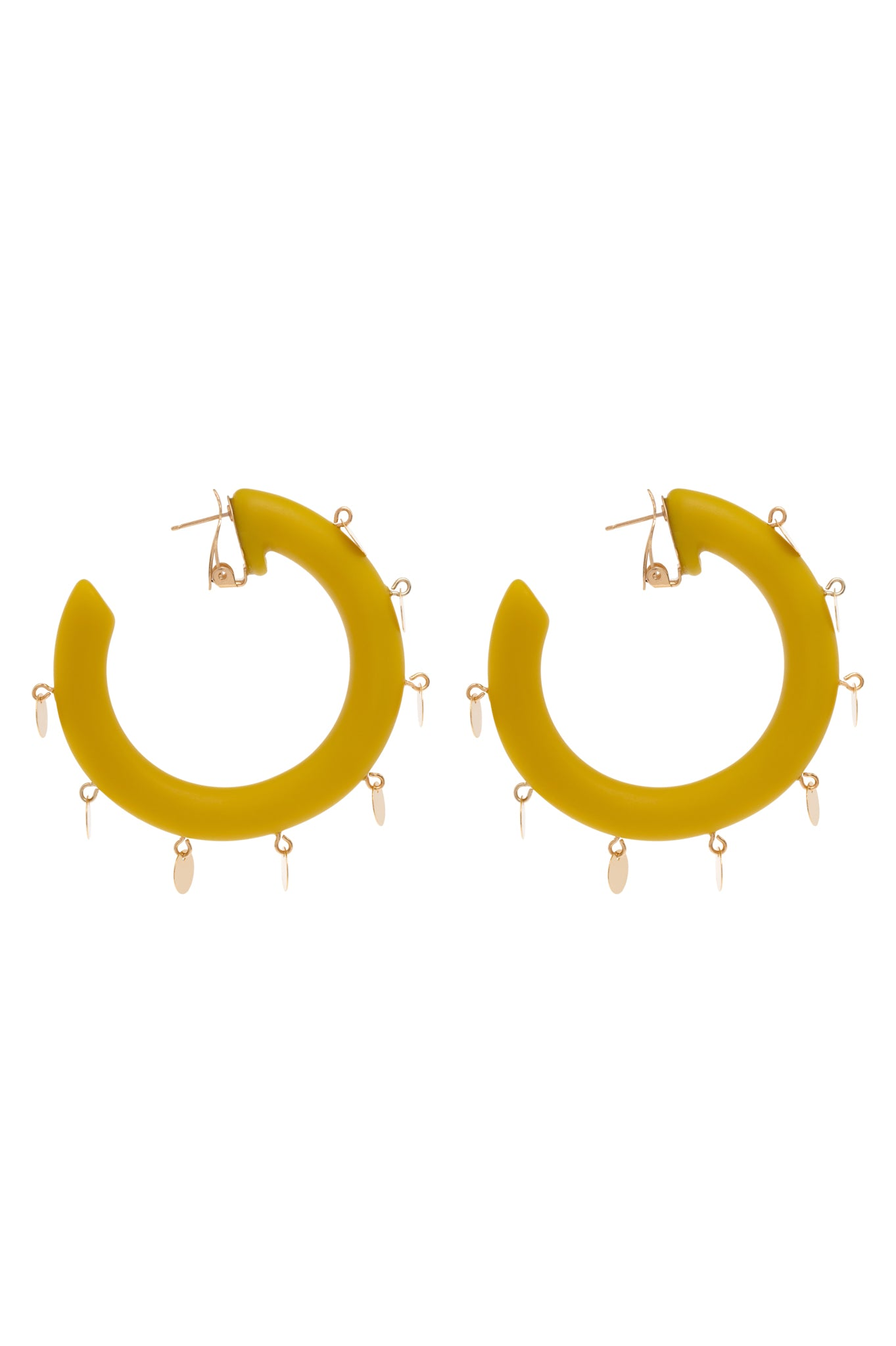 MUSTARD MEDAL HOOP EARRINGS