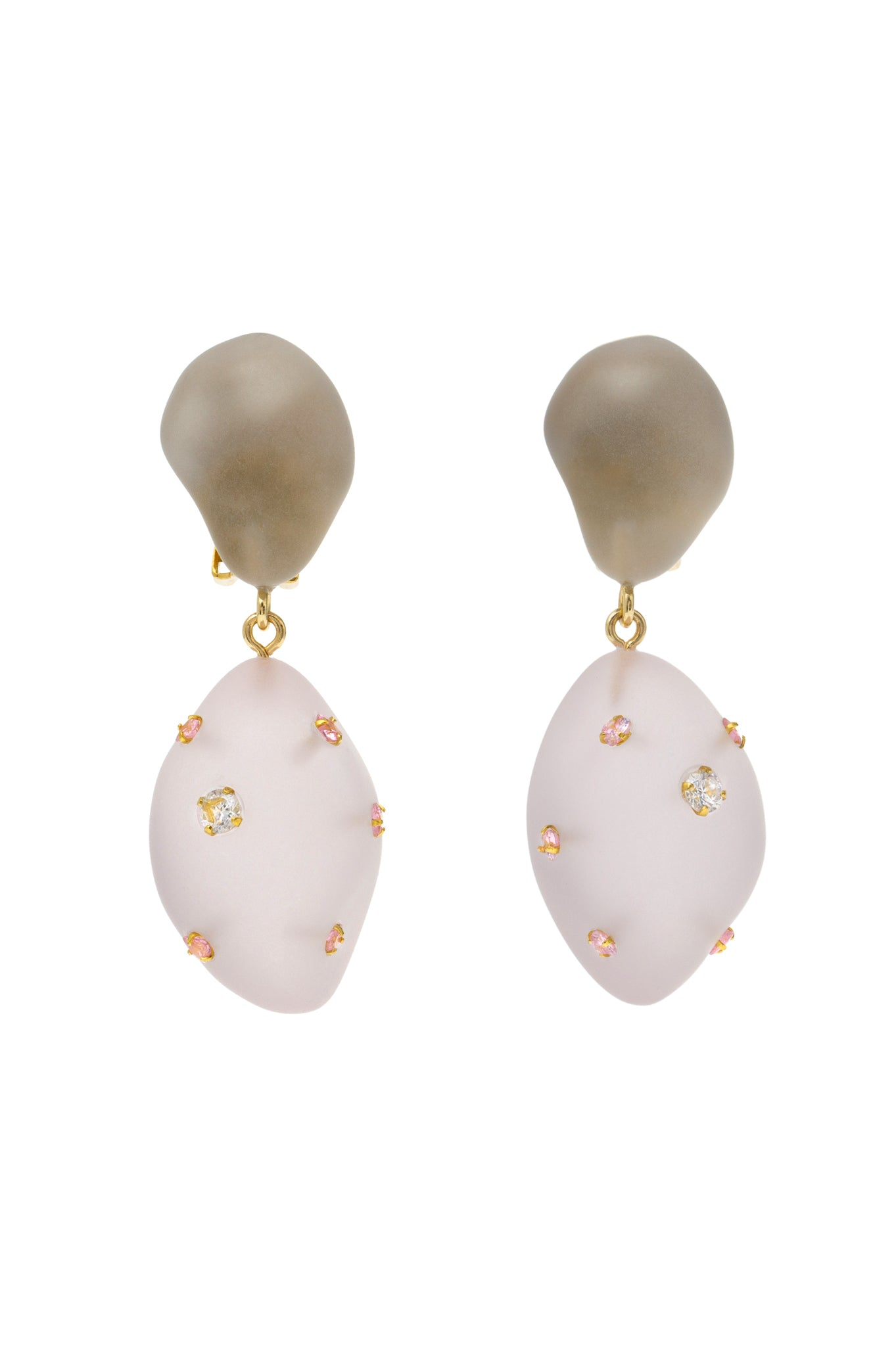 GREY AND PINK DOUBLE ARTSY EARRING