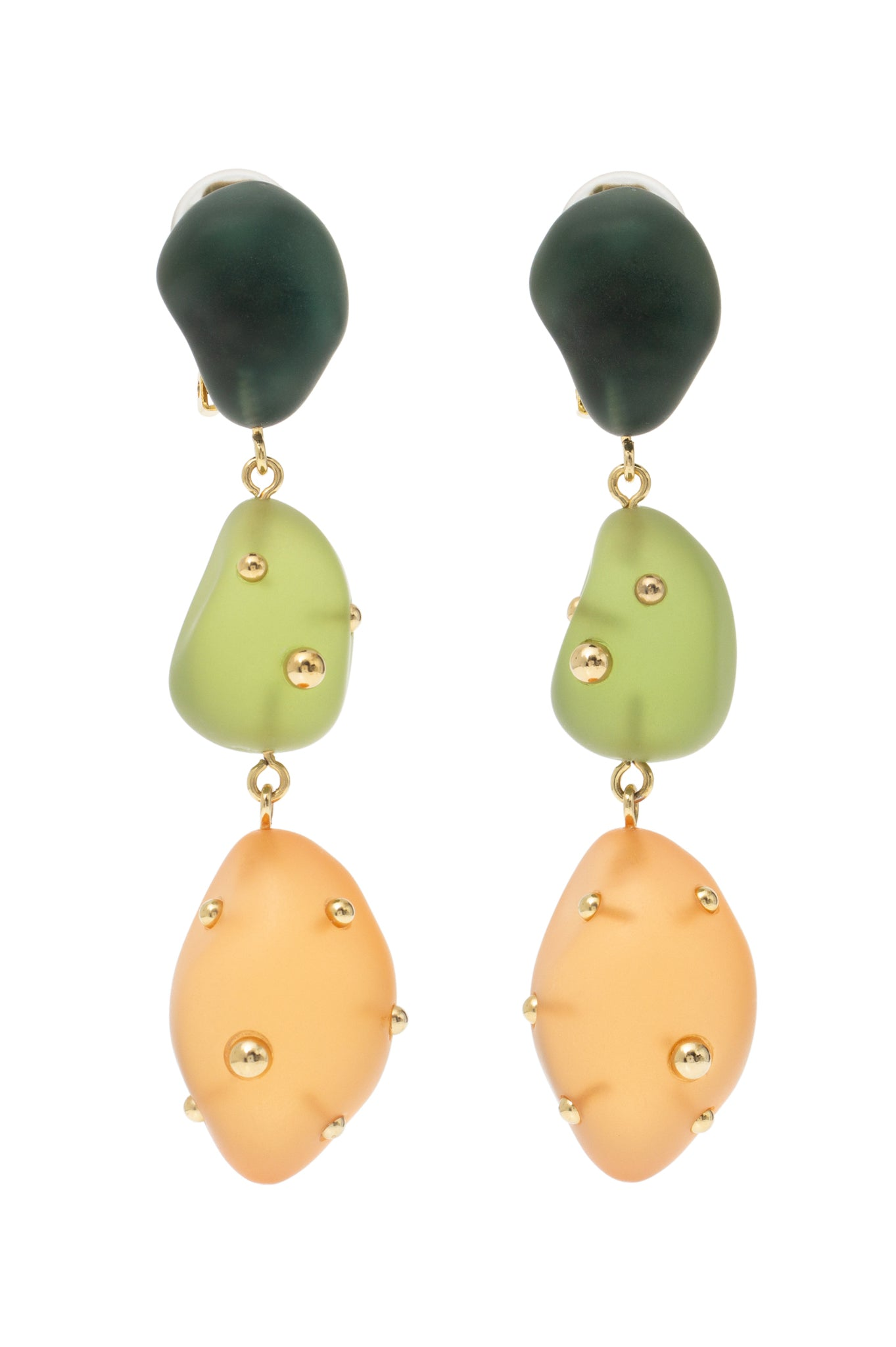 GREEN AND ORANGE ARTSY EARRINGS