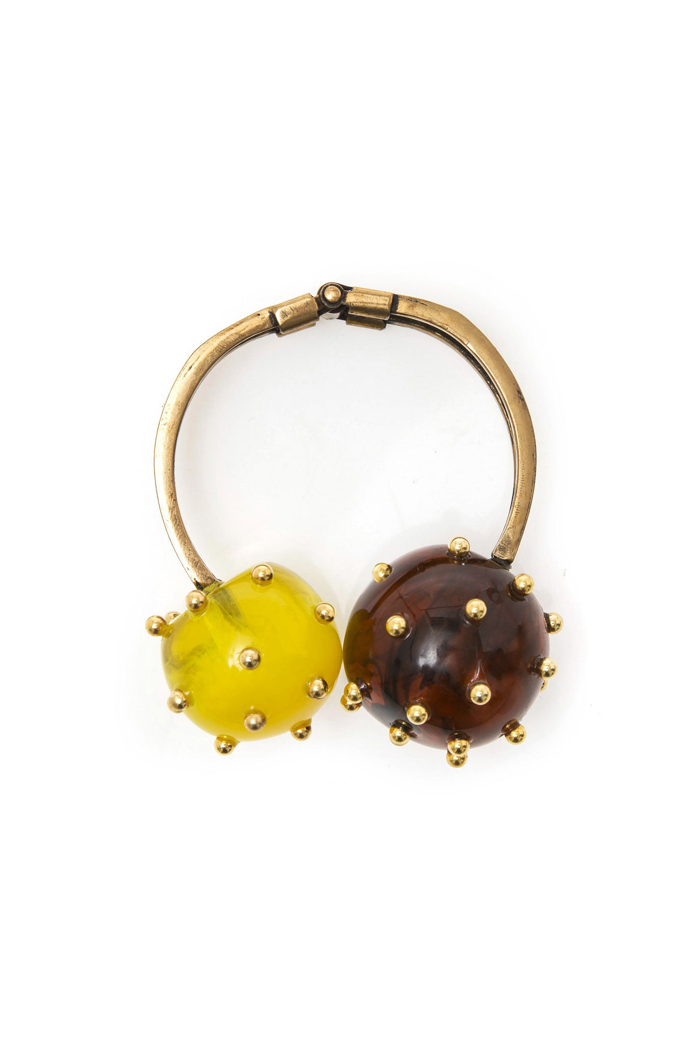 YELLOW AND TORTOISE TWO BALLS BRACELET