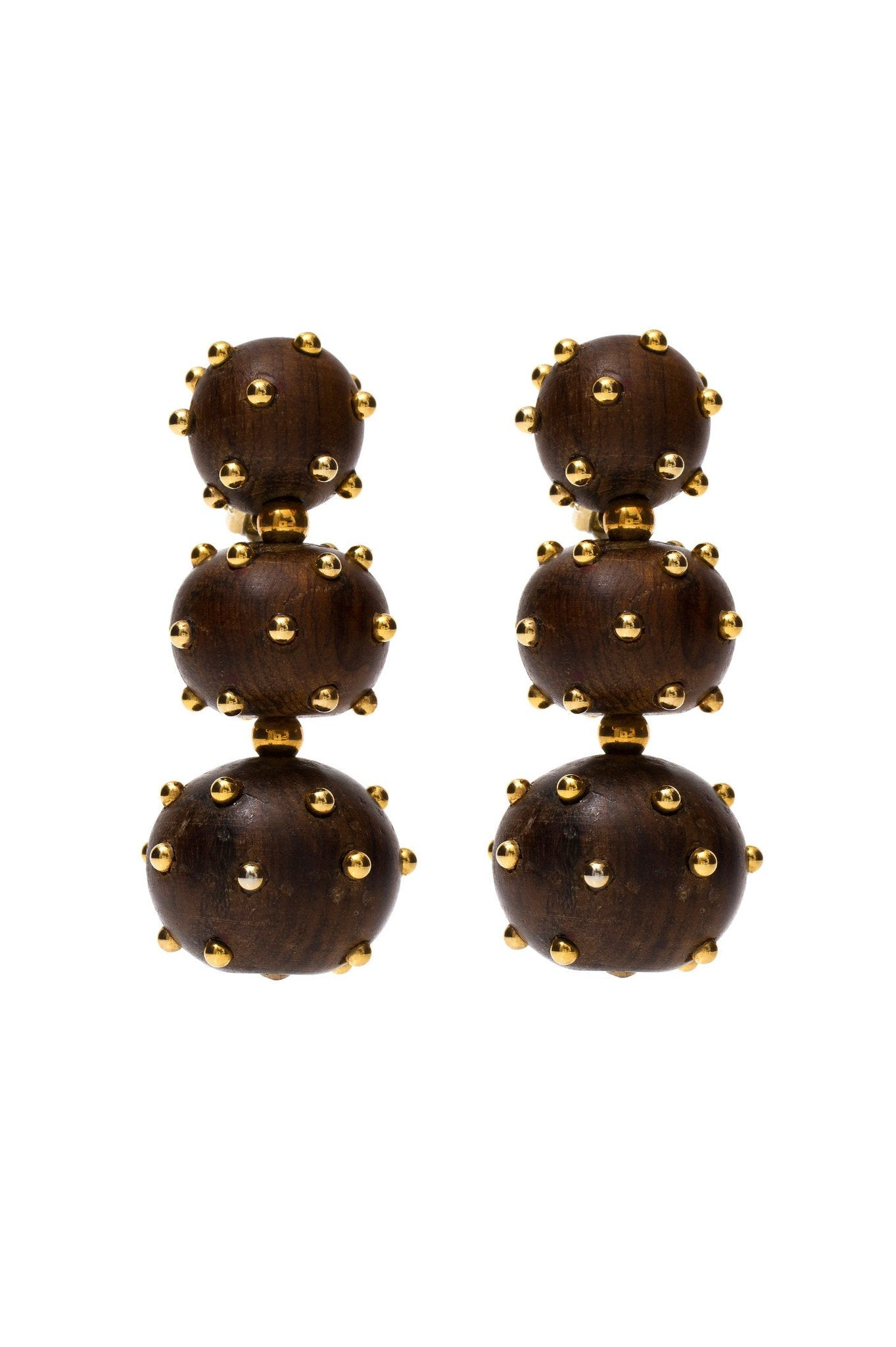 Three Balls Wood Earrings