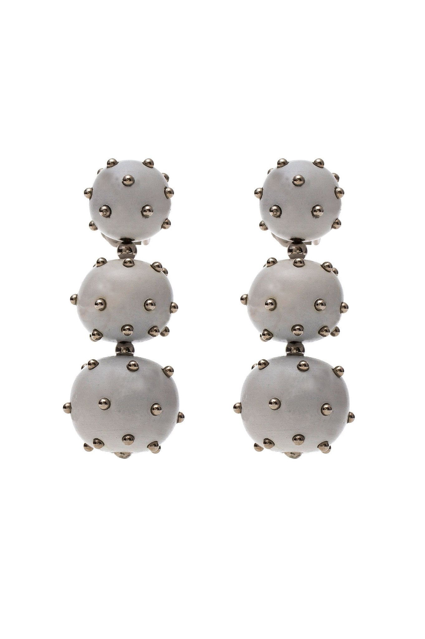 White Three Balls Wood Earring