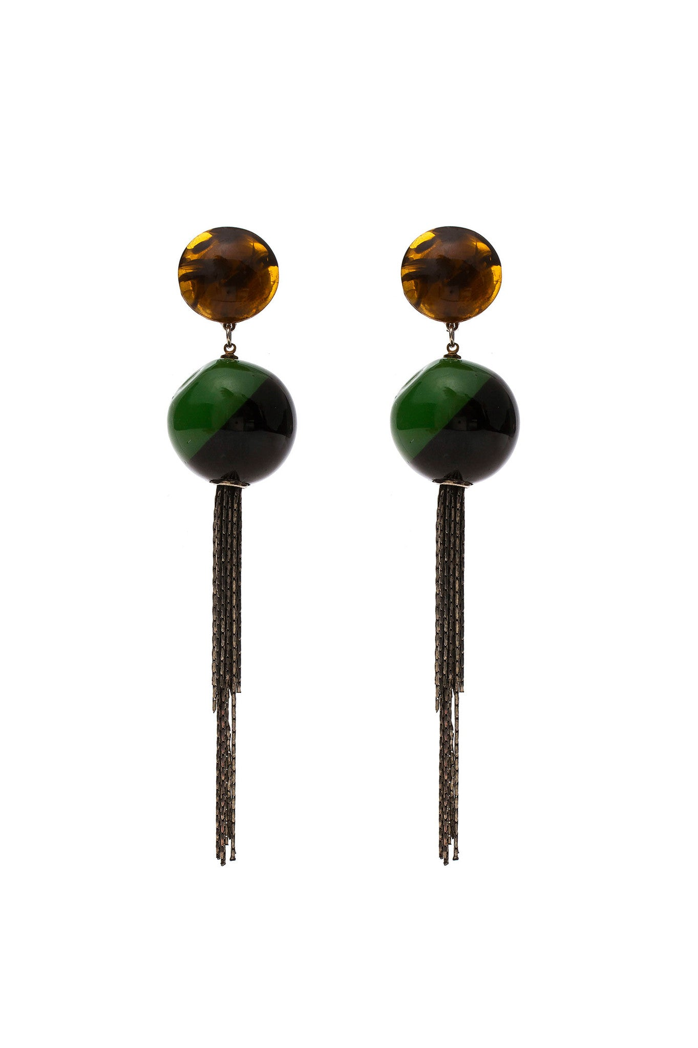 Black and Green Bicolor Earrings