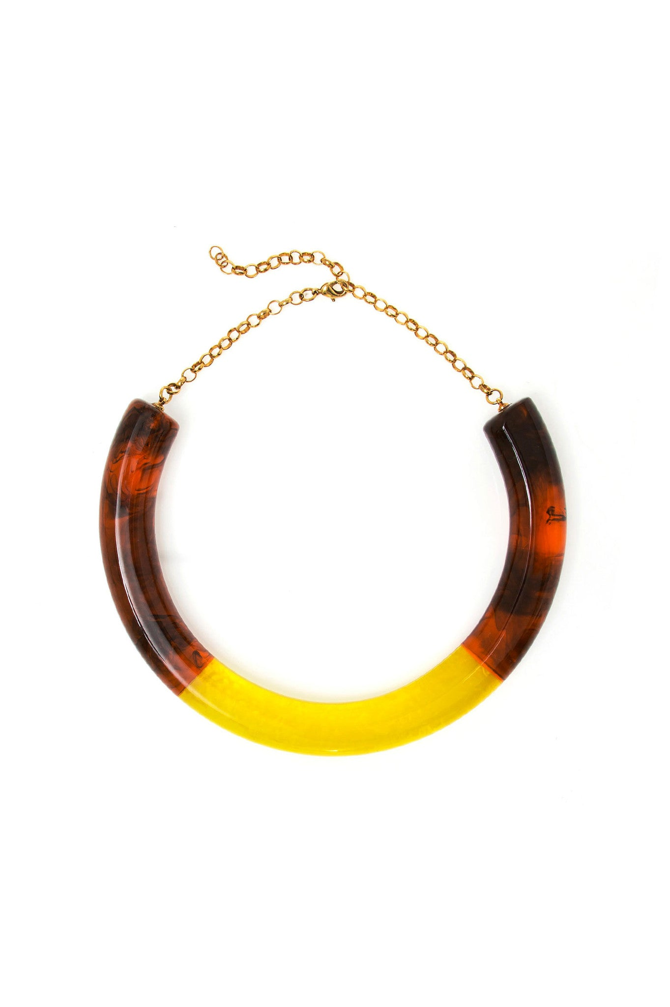 Tortoise and Yellow Bicolor Choker